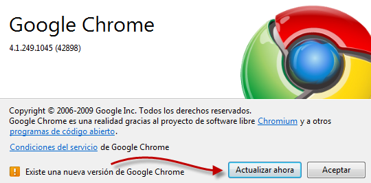 Actualizar el navegador Chrome en Windows gratis.