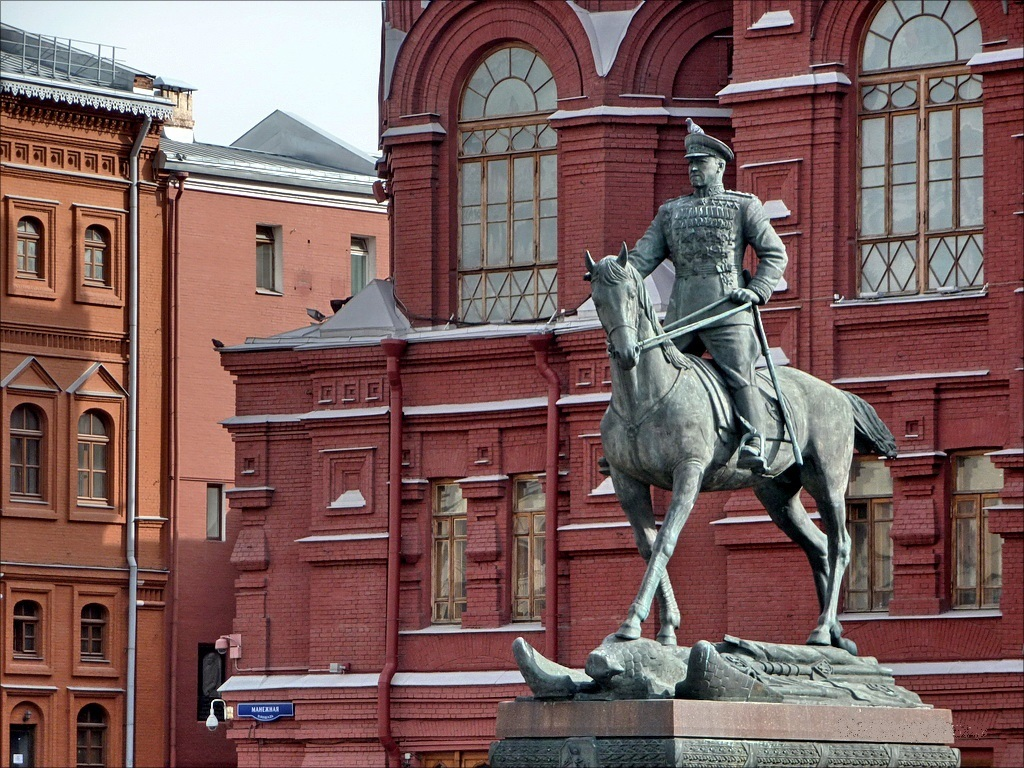 Monument to Marshal Zhukov in Moscow on Red Square.