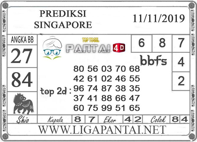 """PREDIKSI TOGEL """"SINGAPORE"""" PANTAI4D 11 NOVEMBER 2019"""