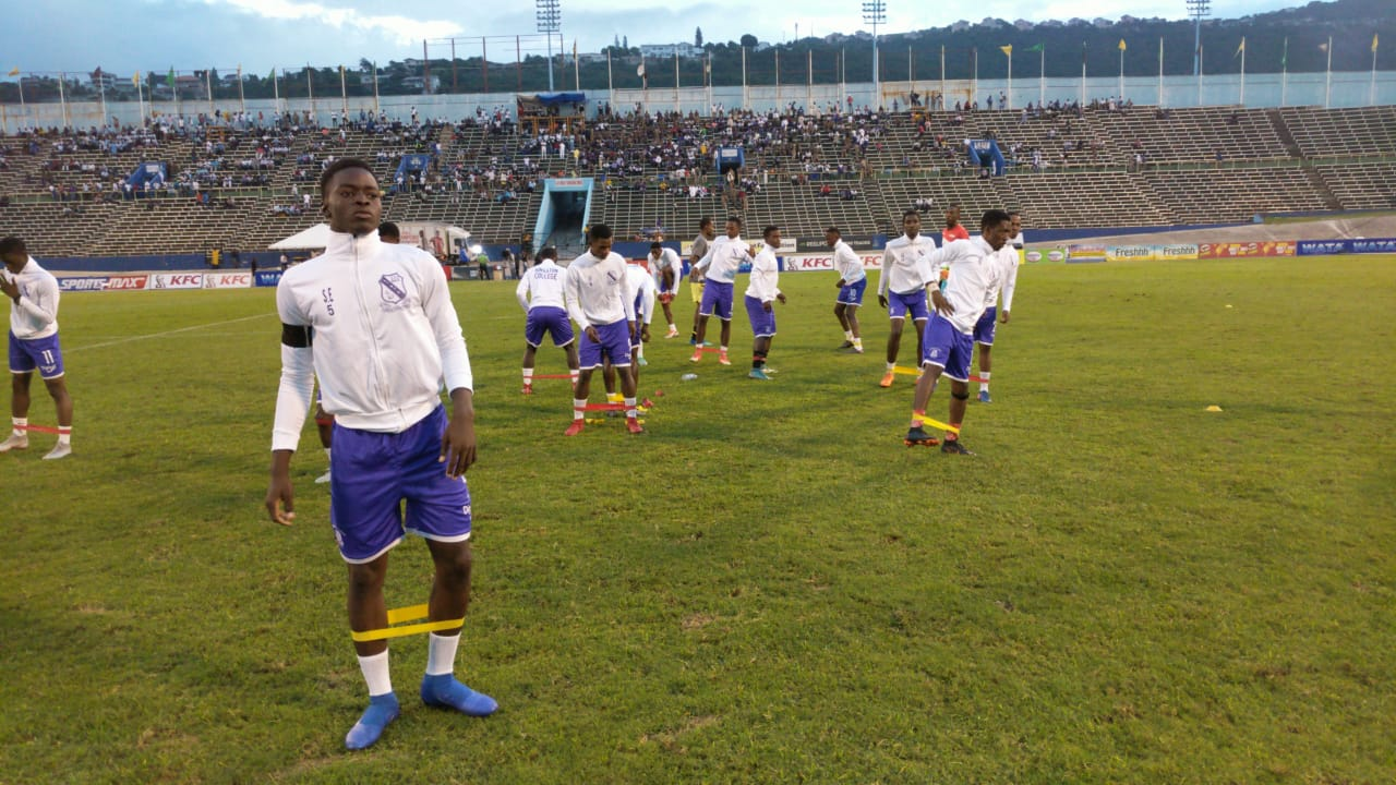 Kingston College warming up for Manning Cup final