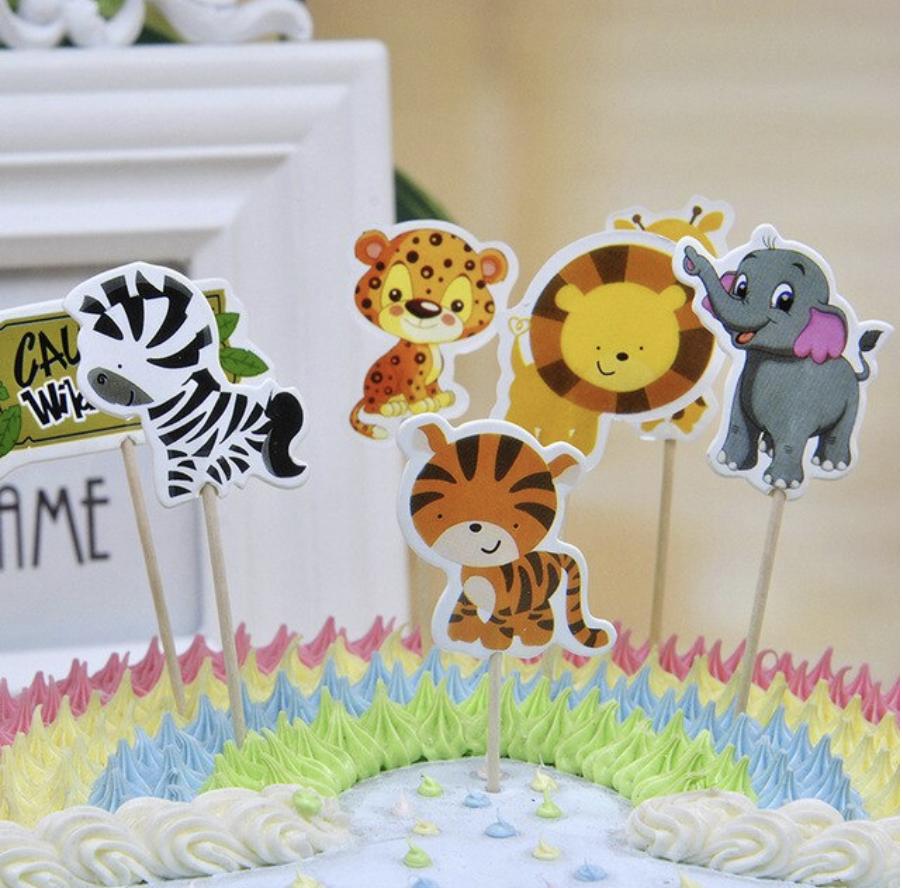 Stupendous 24 X Zoo Animals Cake Picks Cupcake Toppers Flags Kids Birthday Funny Birthday Cards Online Amentibdeldamsfinfo