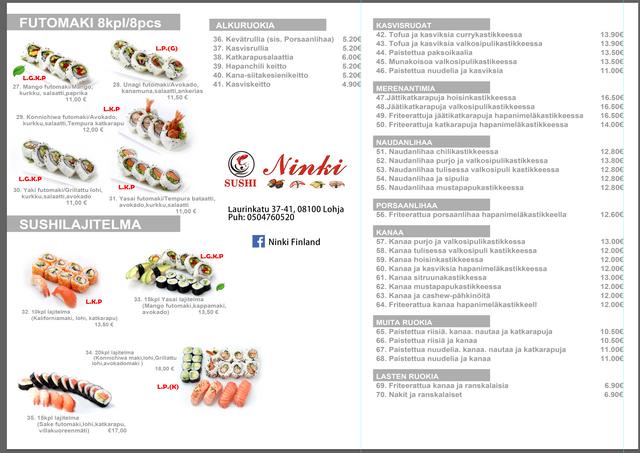 Tervetuloa tilaamaan Ninki Sushiin noutopalvelumme, meillä on alennus koronvirusjakson aikana. Tilaa WhatsAppin kautta: +358 456641668 tai soita: 0456641668, 0504760520