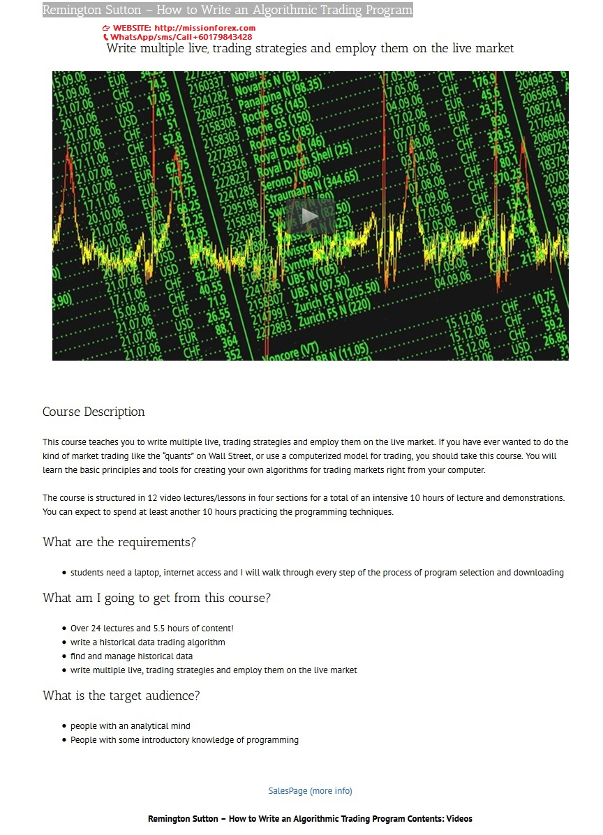 Remington Sutton – How to Write an Algorithmic Trading Program