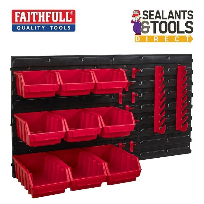 Faithfull-XMS19-WFKIT12-Wall-Panel-Tool-Storage-Bin-Organiser-Kit