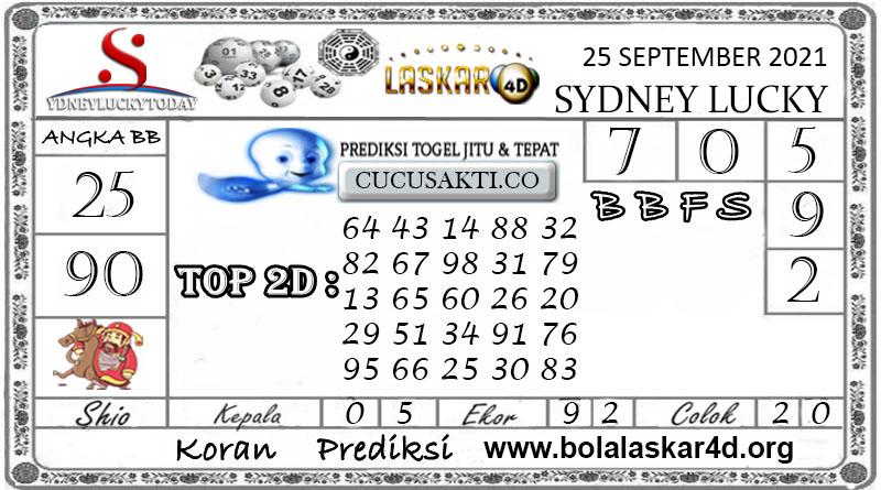 Prediksi Togel Sydney Lucky Today LASKAR4D 25 SEPTEMBER 2021