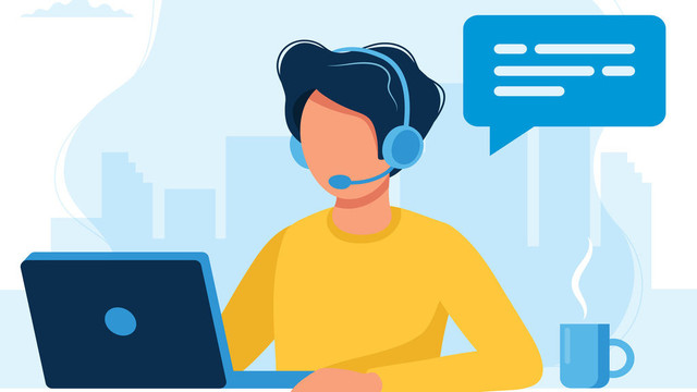 Customer-service-Man-with-headphones-and-microphone-with-laptop-Concept-illustration-for-support-ass