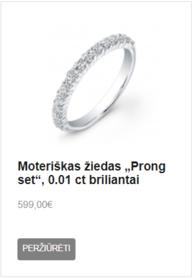 """Moteriškas žiedas """"Prong set"""", 0.01 ct briliantai"""