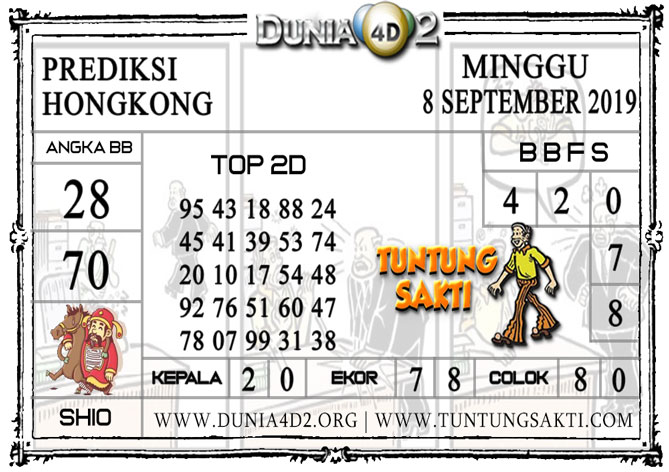 "Prediksi Togel ""HONGKONG"" DUNIA4D2 8 SEPTEMBER 2019"