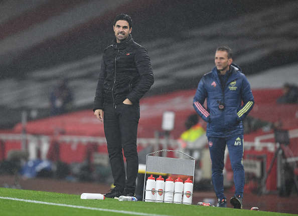 LONDON-ENGLAND-NOVEMBER-08-Arsenal-manager-Mikel-Arteta-during-the-Premier-League-match-between-Arse