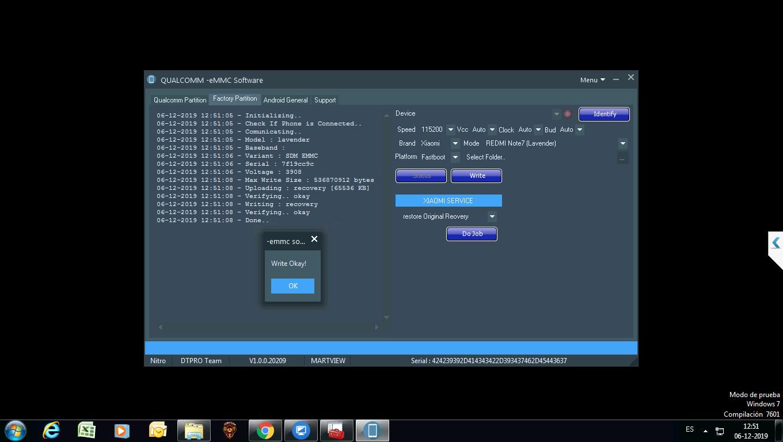 Restore Original recovery in REDMI Note7 (Lavender) bye bye Mi Account lock - DTPRO Tool
