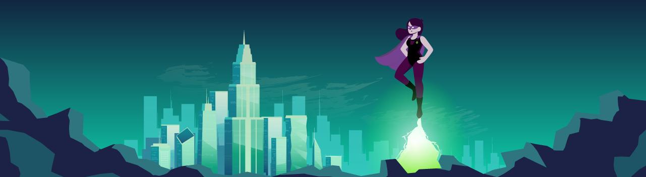 Ilustración de una superheroina volando