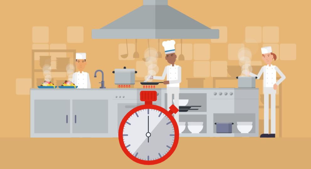 Chefs cooking in a kitchen with a large stopwatch.