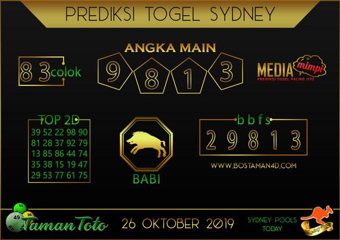 Prediksi Togel SYDNEY TAMAN TOTO 26 OKTOBER 2019