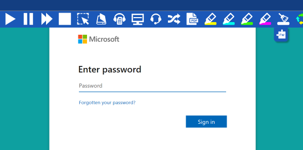Read&Write Microsoft sign in window with enter password textbox