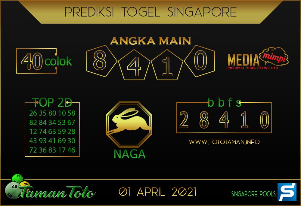 Prediksi Togel SINGAPORE TAMAN TOTO 01 APRIL 2021