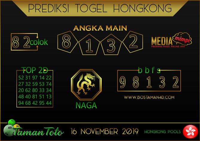 Prediksi Togel HONGKONG TAMAN TOTO 16 NOVEMBER 2019
