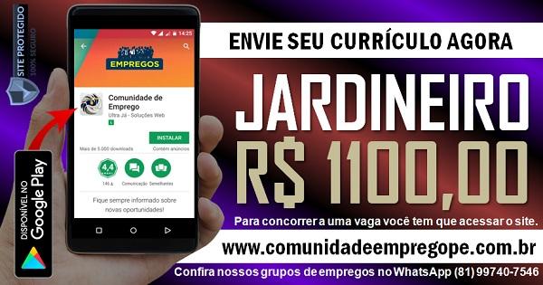 JARDINEIRO COM SALÁRIO DE R$ 1100,00 PARA EMPRESA DE PAISAGISMO