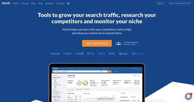 Ahrefs homepage banner