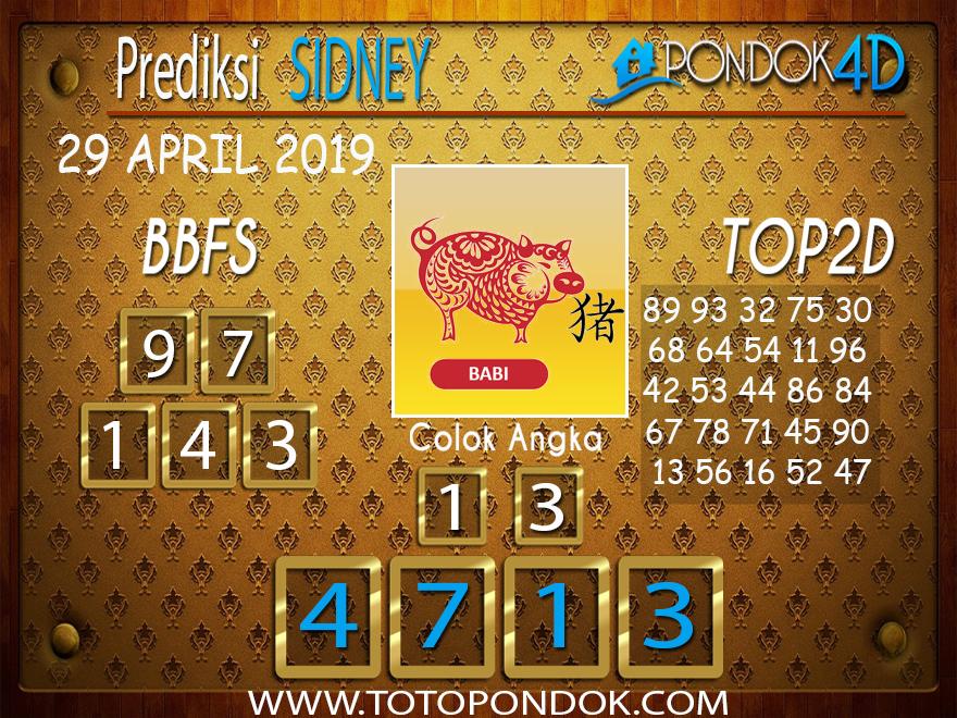 Prediksi Togel SYDNEY PONDOK4D 29 APRIL 2019