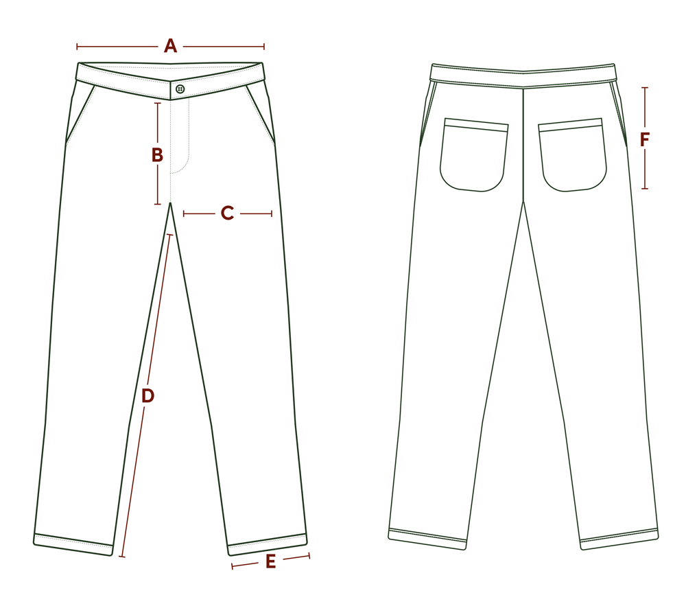 P P Size Diagram Jeans