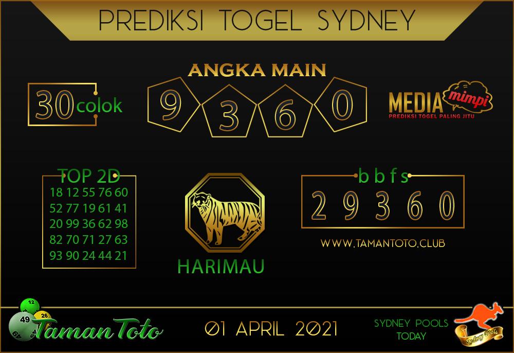 Prediksi Togel SYDNEY TAMAN TOTO 01 APRIL 2021