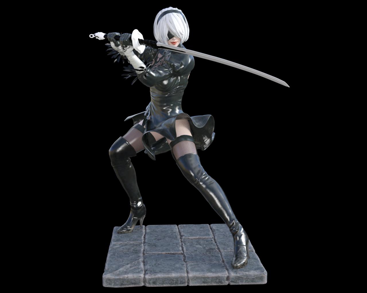 Nier Automata 2B 3D Print Figure from Natadu