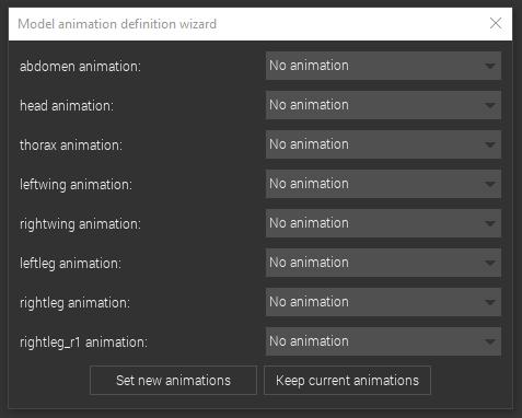 Model animation definition wizard window