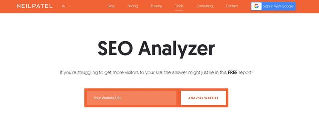 Neil Patel's SEO Analyzer Homepage - Hotcopy