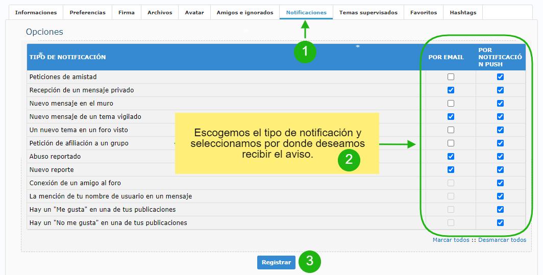 Gestión de las notificaciones Notif1