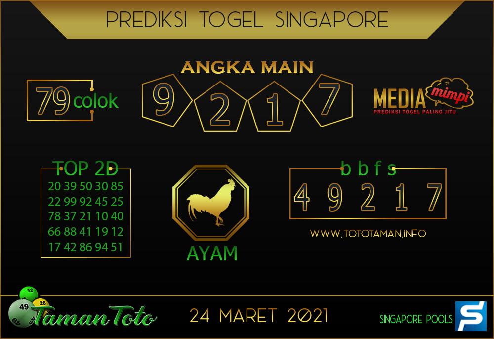 Prediksi Togel SINGAPORE TAMAN TOTO 24 MARET 2021