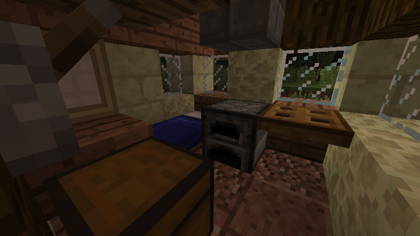 endstone house interior with bed