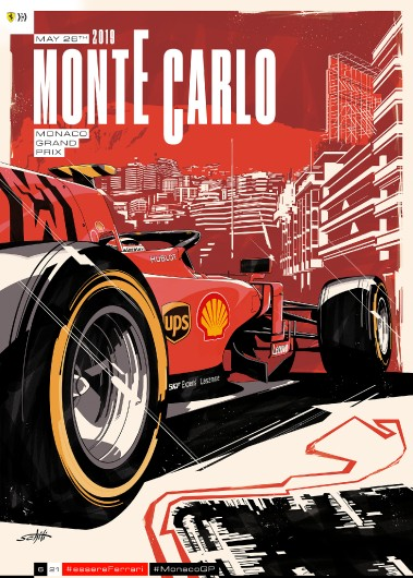 F1 MONACO 2019 FERRARI COVER ART RACE POSTER DVD