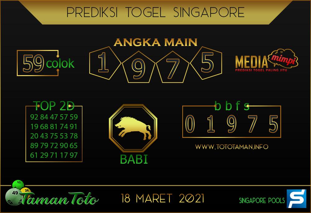 Prediksi Togel SINGAPORE TAMAN TOTO 18 MARET 2021