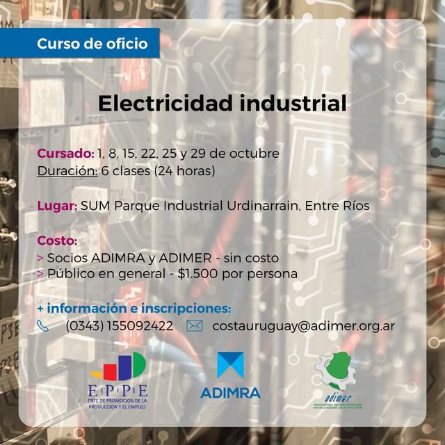 """Locales: Curso de oficio de """"Electricidad Industrial"""""""