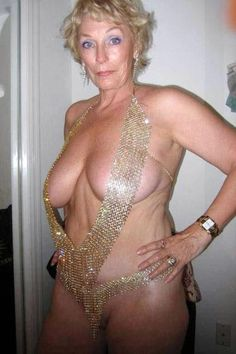 Red hot older woman in gold string dress uses granny dating site to find local sex in her area