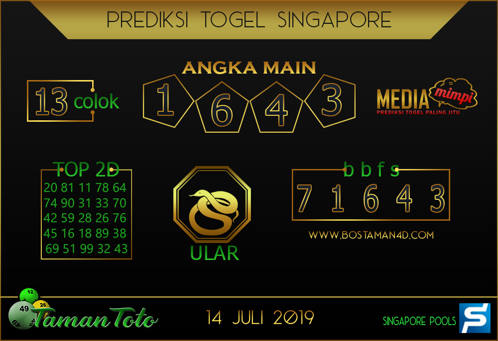 Prediksi Togel SINGAPORE TAMAN TOTO 14 JULI 2019