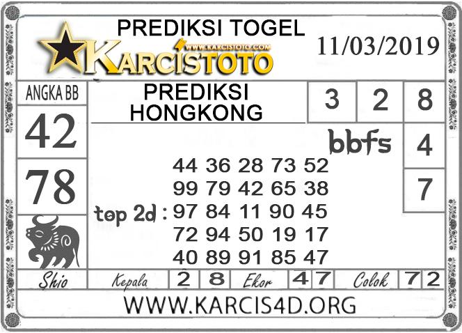 Prediksi Togel HONGKONG KARCISTOTO 11 MARET 2019