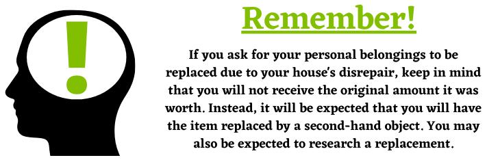 Personal belongings in a housing disrepair claim