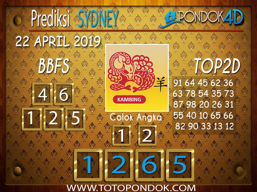 Prediksi Togel SYDNEY PONDOK4D 22 APRIL 2019