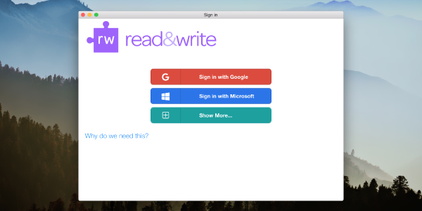 Read&Write sign in window with red sign in with Google button, blue sign in with Microsoft button and green show more button