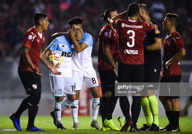 AVELLANEDA-ARGENTINA-FEBRUARY-23-Lisandro-Lopez-of-Racing-Club-celebrates-with-teammate-Guillermo-Fe
