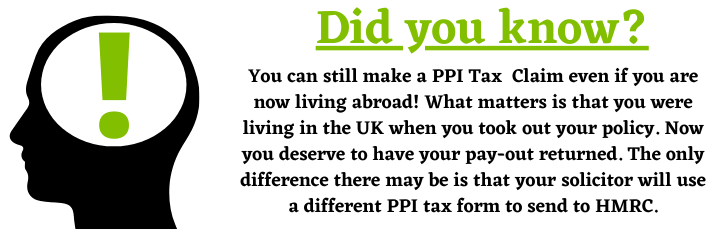 PPI Tax Claims for people living abroad