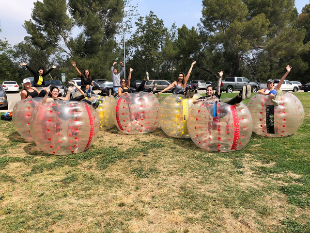 Adult Bubble Soccer poses in West LA on May 4th
