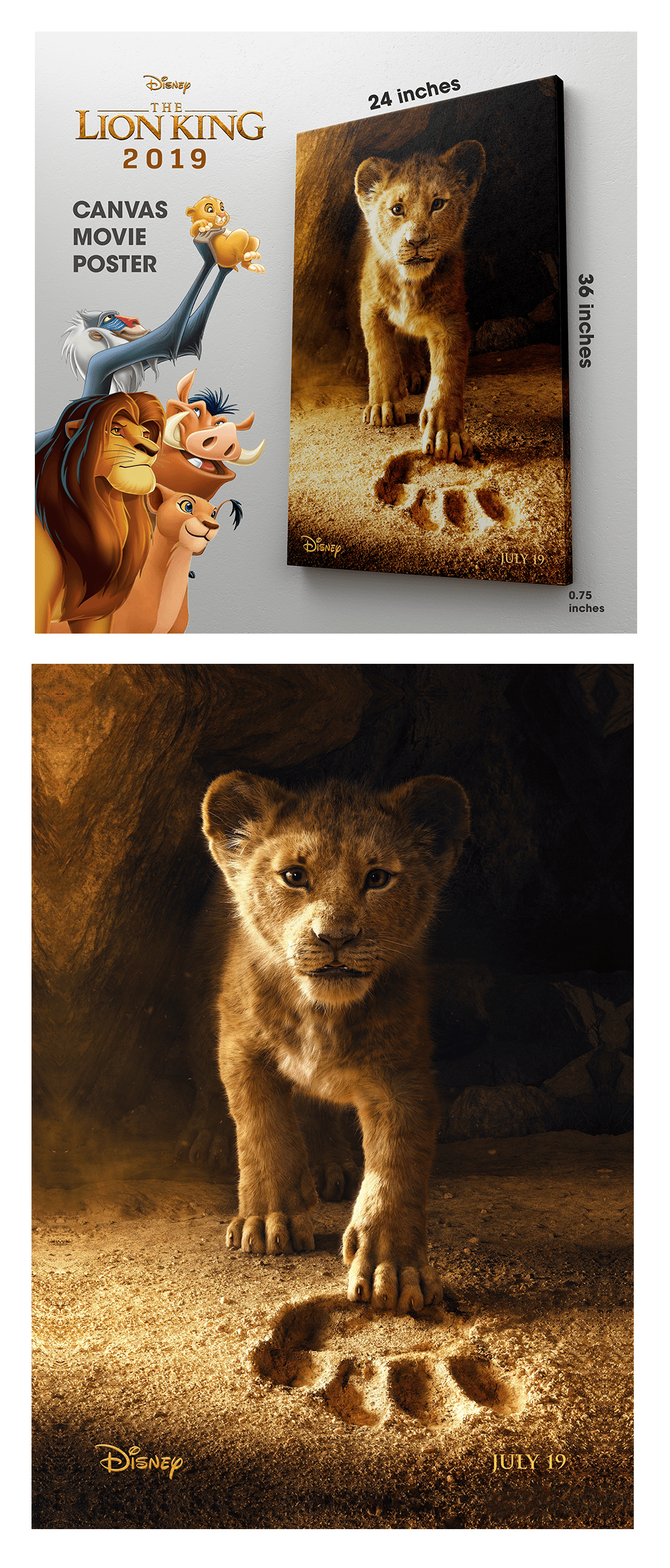 The Lion King 2019 Walt Disney Official Movie Large Poster Canvas