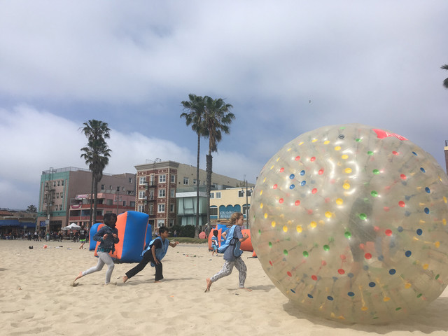 Birthday party of Human Hamster Balls and Archery Tag in Venice Beach on April 27th