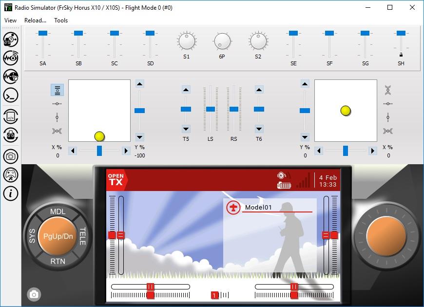 Настройка симулятора аппаратуры в Компаньоне OpenTX
