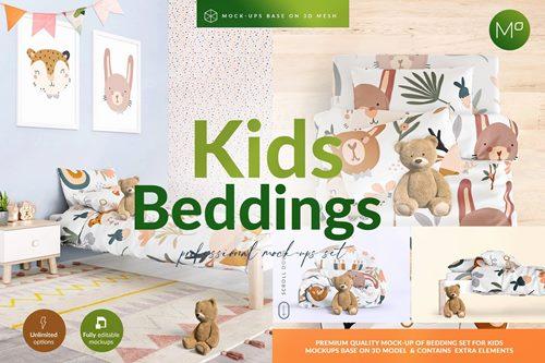 Kids Beddings Mock-ups Set on 3D
