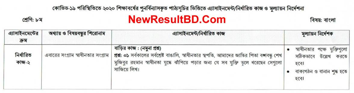 Class 8 Bangla 6th Week Assignment Question & Solution