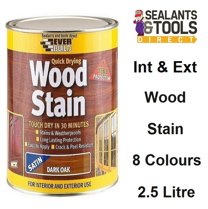 Everbuild Quick Drying Satin Wood Stain 2.5 Litre - 8 Colours
