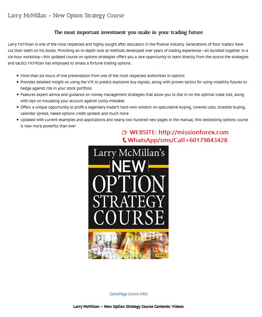 Larry McMillan - New Option Strategy Course